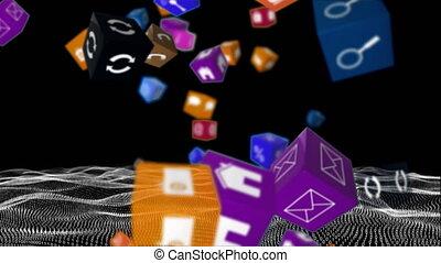coloré, cubes, tomber