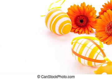 coloré, décoré, oeufs pâques, jaune