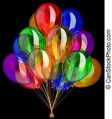 coloré, décoration, fêtede l'anniversaire, ballons, heureux