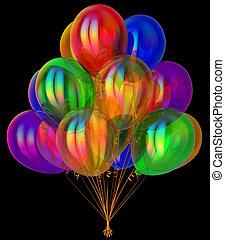 coloré, décoration, fêtede l'anniversaire, ballons, translucide, heureux