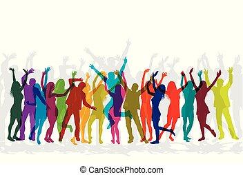 coloré, danse, gens, célébrer, silhouettes, partie.
