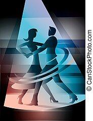 coloré, danse, light., couple, tache, salle bal
