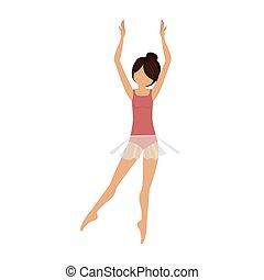 coloré, derrière, danseur, clears, position, cinquième
