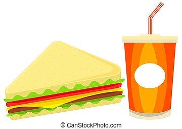 coloré, dessin animé, sandwich, juise, restauration rapide, ensemble
