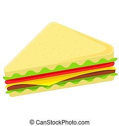 coloré, dessin animé, sandwich, restauration rapide