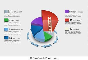 coloré, diagramme, tarte, créatif, vecteur, 3d