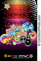 coloré, discothèque, fond, prospectus