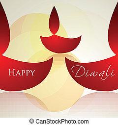 coloré, diwali, vecteur, fond, carte, célébration