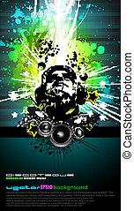coloré, dj, disco, aviateur, à, couleurs arc-en-ciel