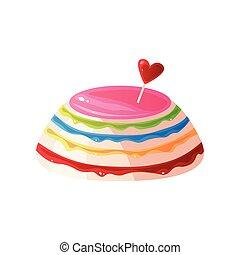 coloré, doux, illustration, vecteur, savoureux, délicieux, dessert, gâteau