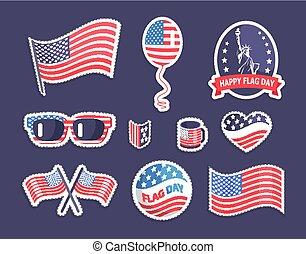 coloré, drapeau américain, symbolisme, bannière, jour, heureux