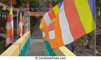coloré, drapeaux, bouddhiste, asie, temple