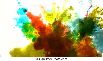 coloré, eau, acrylique, paing, verser, clair