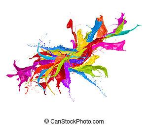 coloré, eclabousse, dans, forme abstraite, isolé, blanc, fond