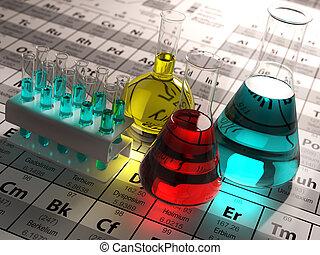 coloré, elements., science, concept., flacons, périodique, liquides, essai laboratoire, table, chimie, tubes