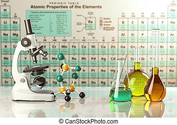 coloré, elements., science, concept., microscope, recherche, verre, flacons, périodique, solutions, table, essai, laboratoire, chimie, tubes, glassware.