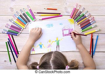 coloré, enfant, pencils., sien, stylos, heureux, carte, anniversaire, enfant, family., dessine, dessin, feutre, fait