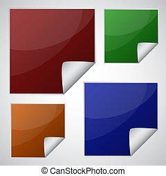 coloré, ensemble, autocollants, carrée