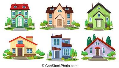 coloré, ensemble, luxe, vivant, bâtiments