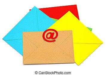 coloré, enveloppes, icône, e-mail, arrière-plan., concept, blanc