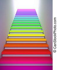 coloré, escalier, à, les, future.