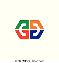 coloré, espace, simple, négatif, vecteur, flèche, logo