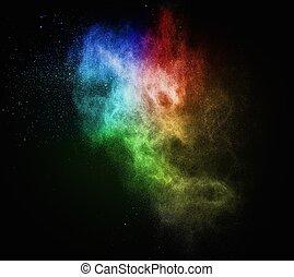 coloré, exploser, noir, isolé, poudre