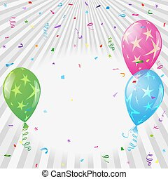 coloré, fête, salutation, argenté, étoiles, confetti, ballons, carte