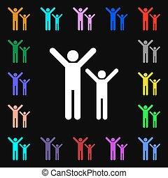 coloré, famille, lotissements, signe., iconi, symboles, vecteur, heureux, ton, design.