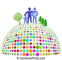 coloré, famille, terrestre