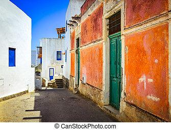 coloré, fenetres, méditerranéen, murs, rue, portes