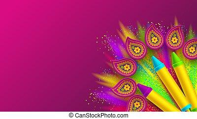 coloré, festival, conception, colors., holi, heureux