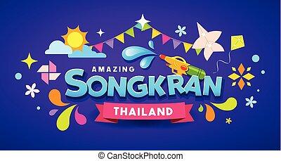 coloré, festival, songkran, surprenant, conception, thaïlande, message, heureux
