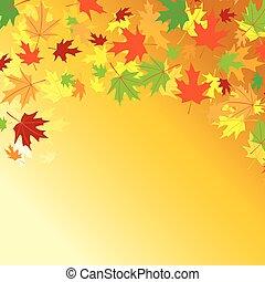coloré, feuilles, -, automne, clair, vecteur, fond, orange