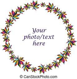 coloré, feuilles, automne, construire, fond, blanc, frontière, rond