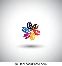 coloré, feuilles, icônes, dans, cercle, -, eco, concept, vecteur