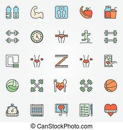 coloré, fitness, ligne, icônes, ensemble
