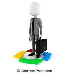 coloré, flèches, homme affaires, blanc, 3d, homme