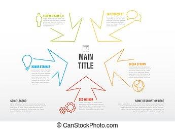 coloré, flèches, mince, gabarit, infographics, ligne