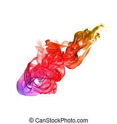 coloré, Flammes, brûler, résumé, fond, blanc