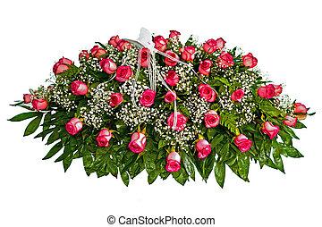 coloré, fleur, cercueil, couverture