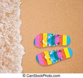 coloré, flipflop, paire, sur, mer, plage