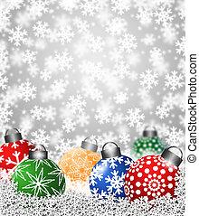 coloré, flocon de neige, ornements, neige