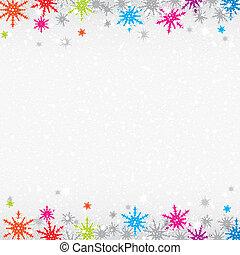 coloré, flocons neige, fond, noël
