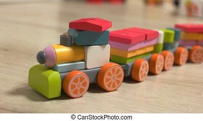 coloré, floor., jouet, train bois
