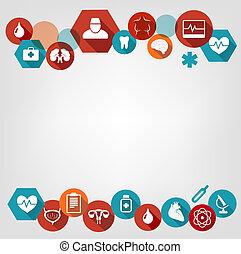 coloré, fond, icons., vector., monde médical