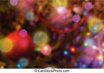 coloré, fond, lumières, noël, brouillé