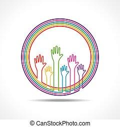 coloré, fond, main