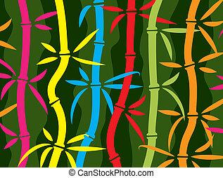 coloré, fond, vecteur, bambou