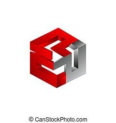 coloré, formé, résumé, trois dimensionnel, vecteur, hexagone, symbole